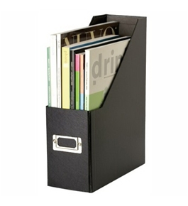 Snap-N-Store Jumbo Magazine File Box, Black Fiberboard with Content Label Holder