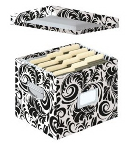 Snap-N-Store Letter Size File Box, 11 x 14 x 1 Inches, Black and White Scroll Design (SNS01836)