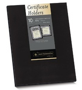 Southworth Black Certificate Holder, 9.5 x 12 inches, 105 lb., Linen Finish, 10 Count (PF18)