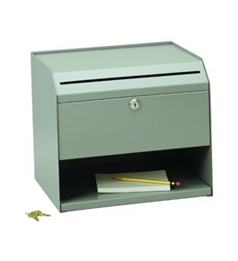 SteelMaster Counter-Top Slotted Suggestion Box, Includes Keys, 12.5 x 11 x 10 Inches, Gray (22290SBGY)