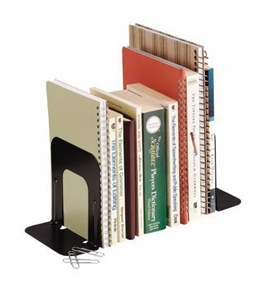 STEELMASTER Deluxe Steel Bookends, 5 Inch Backs, 1 Pair, 4.69 x 5 x 5.25 Inches, Black (241005104)