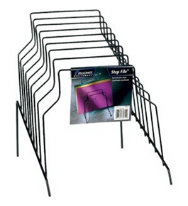 Step File, 8 Sections, Wire, 10 1/8w x 12 1/8d x 11 7/8h, Black