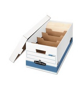 Stor/File DividerBox, Letter, 12 x 24 x 10, White/Blue, 12/Carton