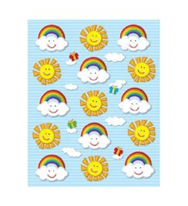 Sun & Rainbows Shape Stickers; 90 per Pack; Multi-Colored; no. CD-168024