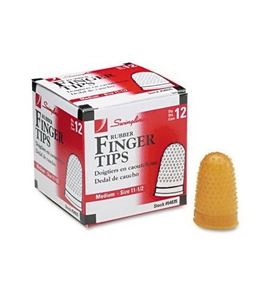 Swingline Rubber Finger Tips, Size 11.5, Medium, 5/8 Inch Diameter, Amber, 12 Tips per Box (S7054035)