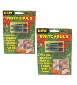 Switchbulb Push Button Light Switch with Adapter, Turn xmas lights on with a push of a button