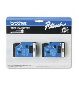 Brother TC-34Z 3/8 Inch White on Black P-Touch Tape