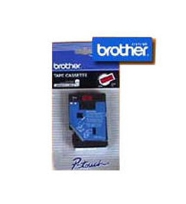 Brother TC74Z1 3/8 Inch Laminated Tape, White on Orange
