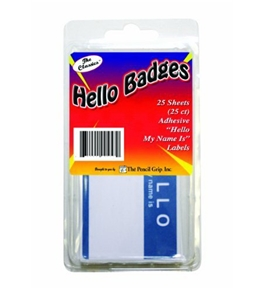 "The Classics ""Hello My Name Is"" Badge Labels, Blue/White, 25 Count (TPG-457)"