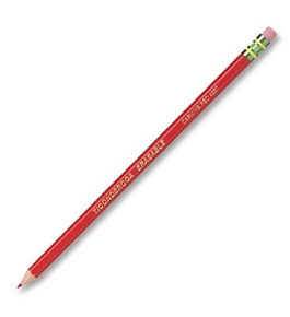 Ticonderoga Erasable Checking Pencils, Eraser Tipped, Pre-Sharpened, Set of 12, Carmine Red (14259)