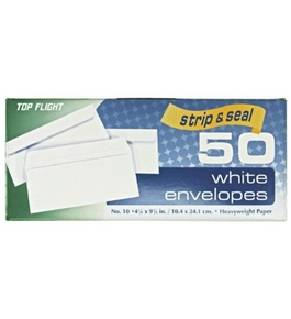Top Flight (#10) Boxed Envelopes, Strip and Seal Closure, 4.5 X 9.625 Inches, White, 50 Envelopes per Box