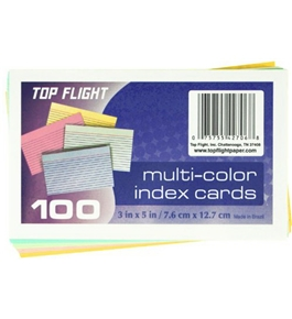 Top Flight Index Cards, Ruled, 3 x 5 Inches, Rainbow Colors, 100 Cards per Pack (4630722)