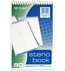 Top Flight Steno Book, Top Wirebound, 6 x 9 Inches, Gregg Ruling, White Paper, 80 Sheets (4600945)