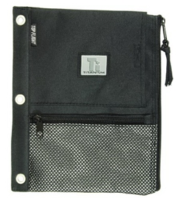 Top Flight Titanium Zipper Pencil Pouch with 4 Pockets, 8.125 x 9.75 Inches, 1 Pouch, Black/Silver (4511634)