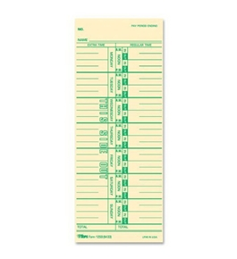 TOPS Time Cards, 3.5 x 9 Inch, Green Ink Front, Weekly Format, 100-Pack, Manila (12593)