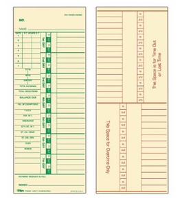 TOPS Weekly Time Cards, Green Ink Front and Back, 3.5 x 9 Inches, 500-Count, Manila (1257)
