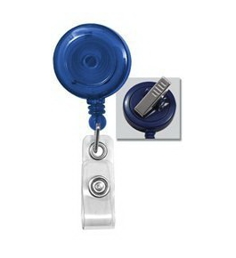 Translucent Blue Badge Reel w/ Clear Vinyl Strap & Swivel Spring Clip. 2120-7622