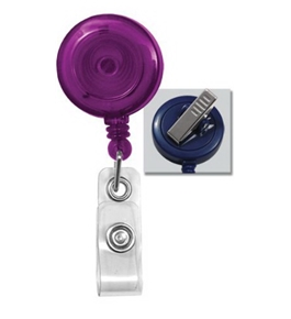 Translucent Purple Retractable Badge Reel With Swivel Spring Clip 2120-7623