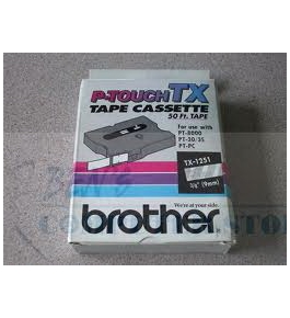 Brother TX1251 3/8 Inch White on Clear Tape