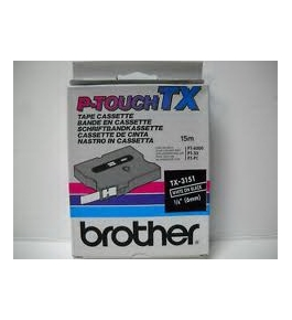 Brother TX3151 1/4 Inch White on Black P-Touch Tape