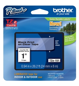 Brother TZ151 1 In. Black On Clear P-touch Tape, TZe-151