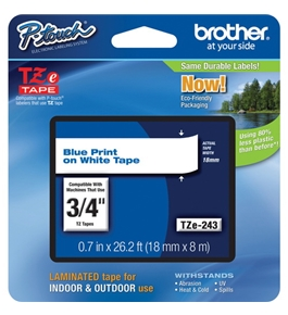 Brother TZ243 3/4 In. Blue On White P-touch Tape, TZe-243