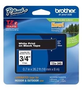 Brother TZ345 3/4 In. White On Black P-touch Tape, TZe-345