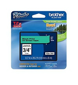 Brother TZ741 3/4 In. Black On Green P-touch Tape, TZe-741