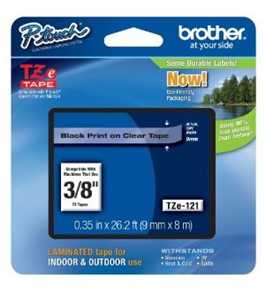 Brother TZe121 Laminated Tape Black on Clear, 9mm