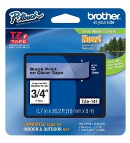 Brother TZe141 Tape, Black on Clear, 3/4 Inch