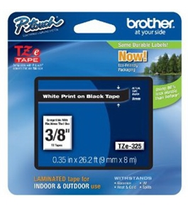 Brother TZe325 Tape, White on Black, 9mm