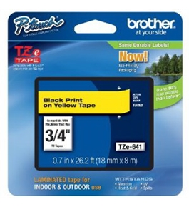 Brother TZe641 Tape, Black on Yellow, 18mm