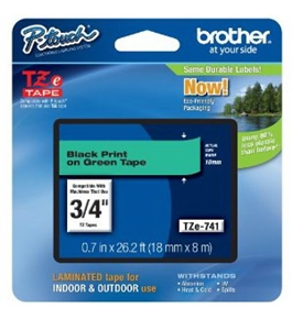 Brother TZe741 Laminated Tape Black on Green, 18mm