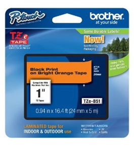 Brother TZeB51 Laminated Black on Fluorescent Orange 1 Inch Tape