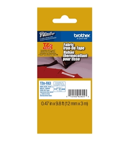 Brother TZeFA3 Fabric 1/2 Inch Iron-On Tape, Navy Blue on White
