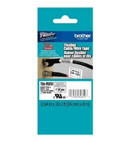 Brother TZeFX251 Laminated Flexible ID Black on White 1 Inch Tape