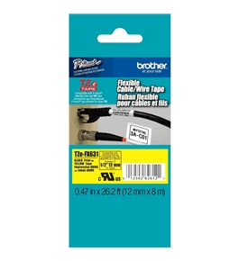 Brother TZeFX631 Laminated Flexible ID Black on Yellow 1/2 Inch Tape