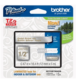 Brother TZeMQ934 Laminated Tape, 12mm, Gold on Silver