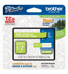 Brother TZeMQG35 White on Lime Green 12mm Laminated Tape