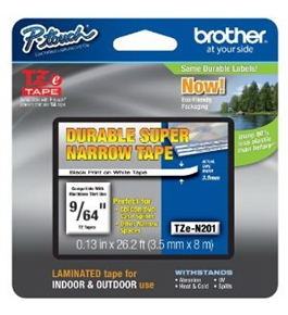 Brother TZeN201 Laminated 9/64 Inch Tape, Black on White