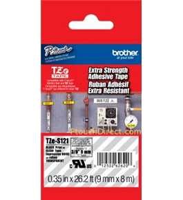 Brother TZeS121 Tape, Black on Clear Extra Strength, 9mm