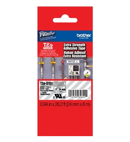 Brother TZeS151 Extra Strength Tape, Laminated Black on Clear, 24mm