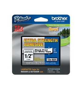 Brother TZeS231CS Laminated Tape Black on White Extra Strength, 12mm