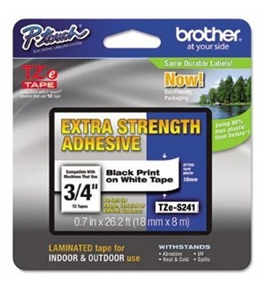 Brother TZeS241CS Extra Strength Tape, Black on White, 18mm