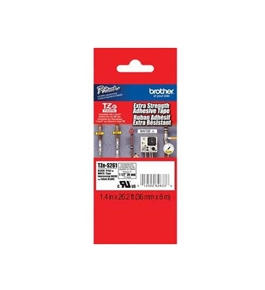 Brother TZeS261 Laminated Extra-Strength Black on White 1.5 Inch Tape