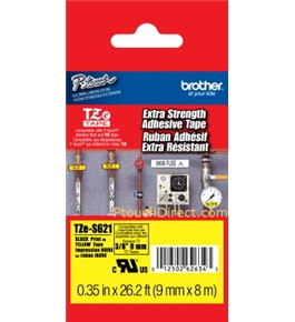 Brother TZeS621 3/8 Inch Black on Yellow Extra Strength Tape