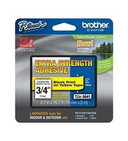 Brother TZeS641 Industrial Strength Laminated Label, 18mm, Black on Yellow
