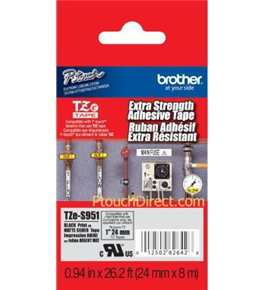 Brother TZeS951 1 Inch Black on Matte Silver Extra Strength Tape