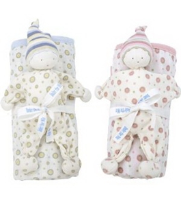 Under the Nile Pink Dot Or Blue Dot Baby Buddy & Blanket Set - BLUE