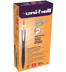 uni-ball Jetstream Sport Bold Point Retractable Roller Ball Pens, 12 Red Ink Pens (1738687)